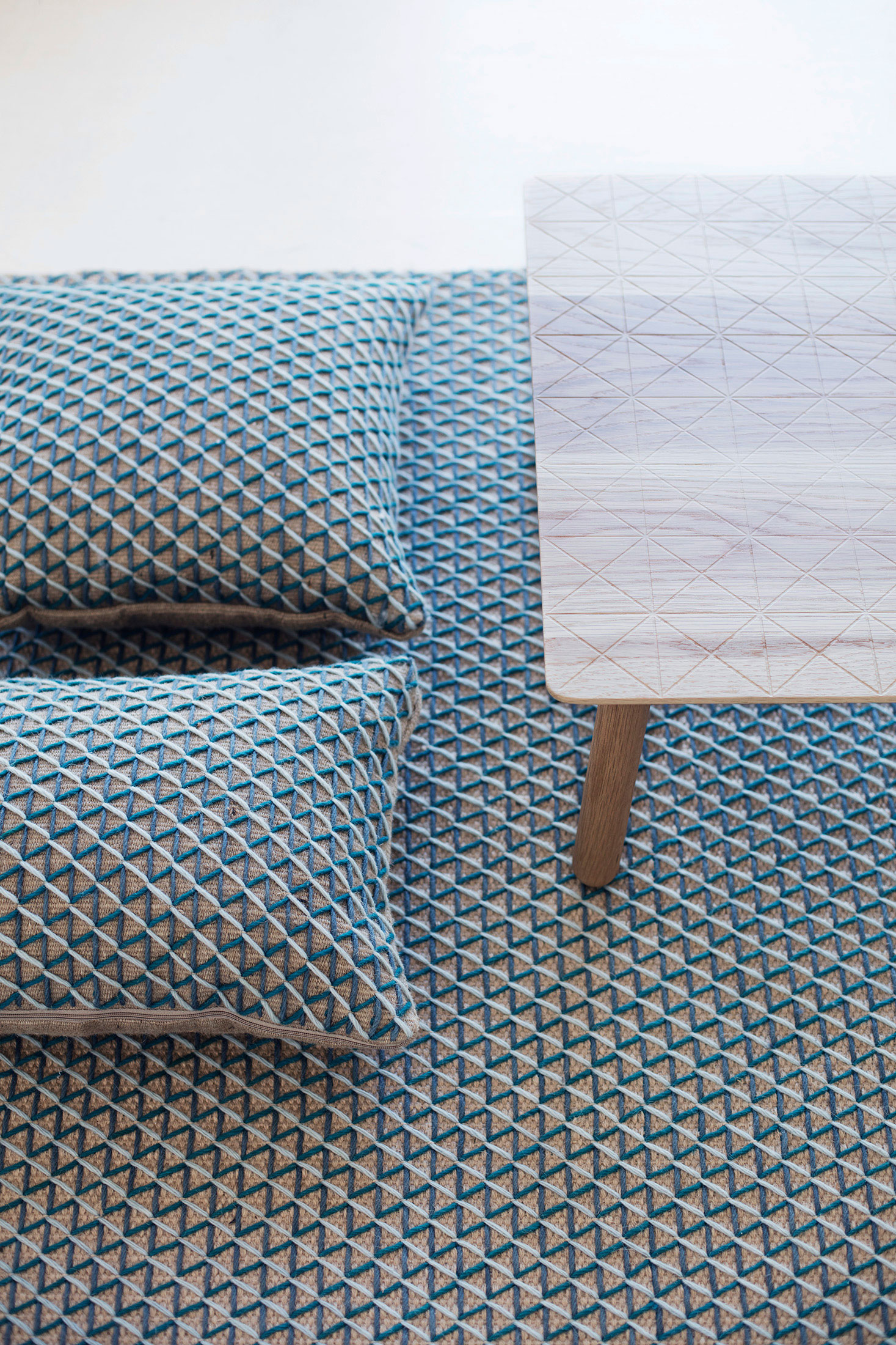 Rug and pillows from the Raw collection of Gandia Blasco's textile brand, Gan. (Photo: Courtesy Gandia Blasco)