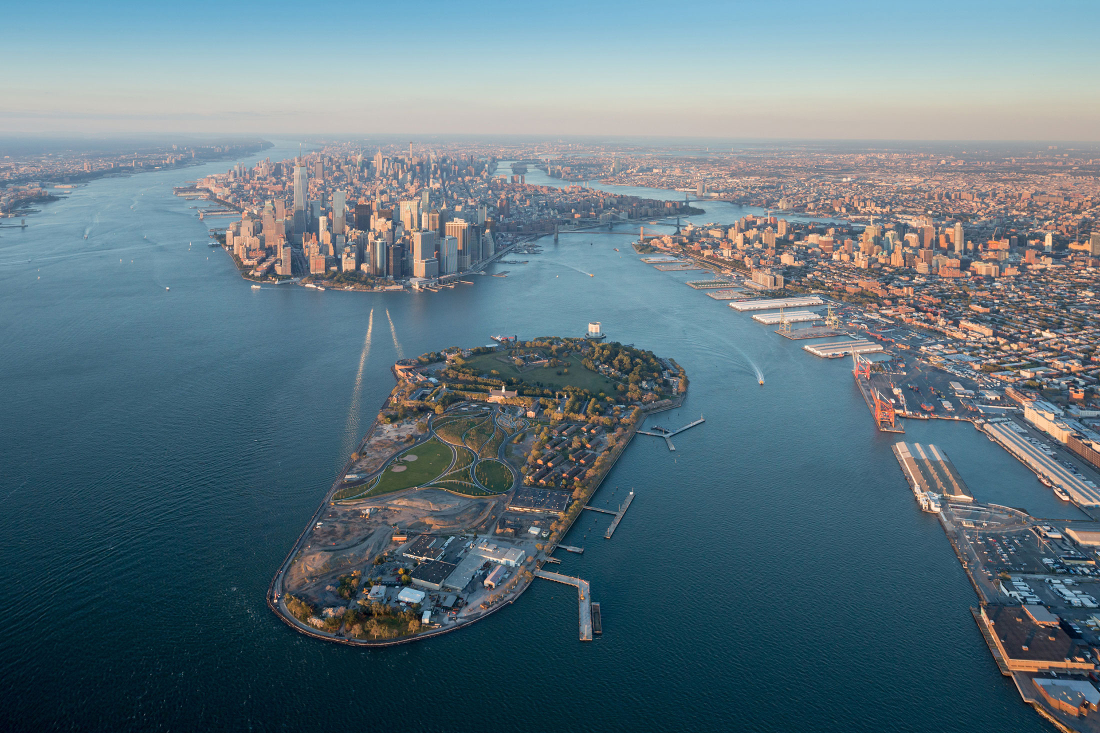 The ice cream cone–shaped Governors Island off the southern tip of Manhattan. (Photo: Iwan Baan)