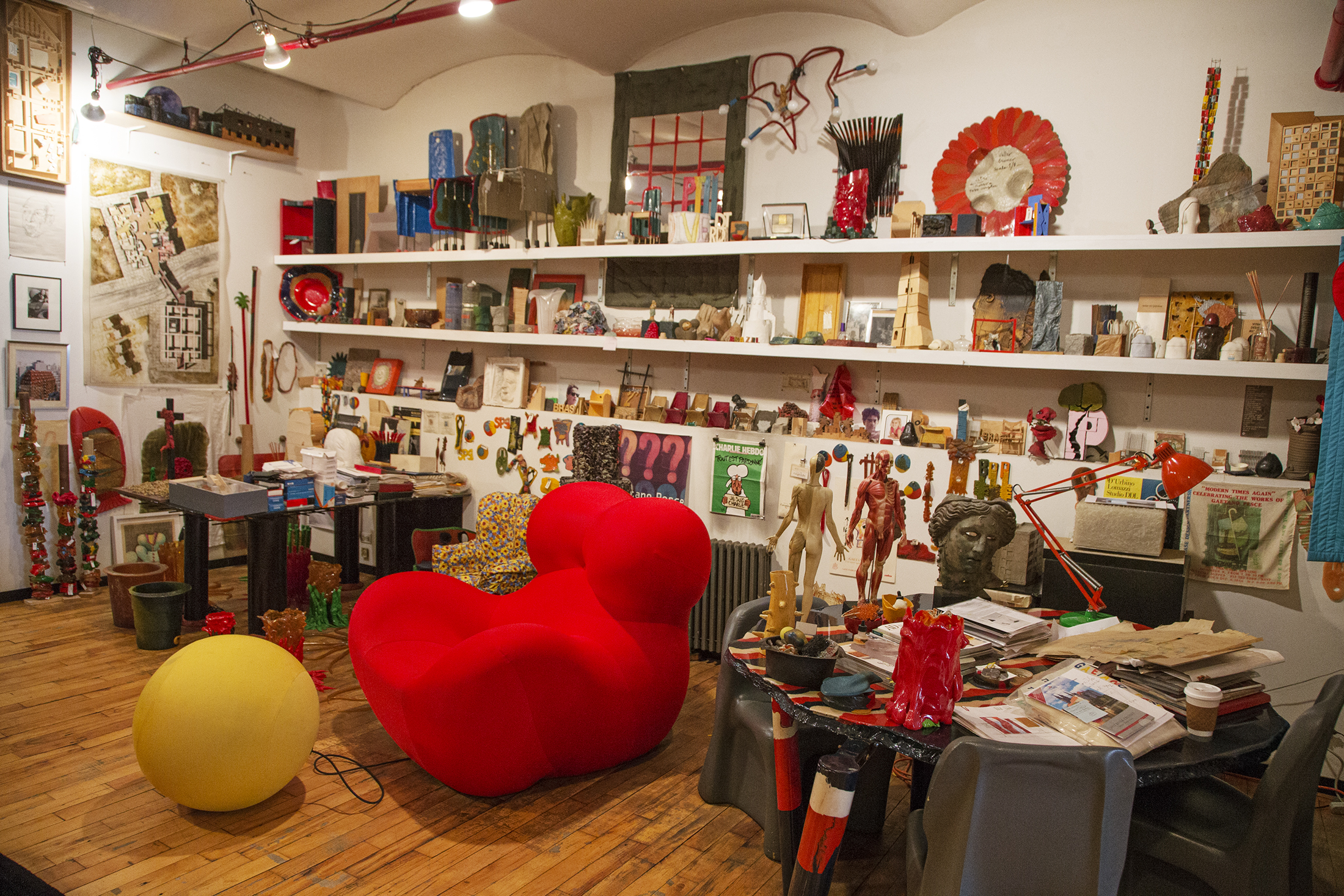 "A ""Donna"" chair among other items inside Pesce's New York City studio. (Photo: Ogata/Surface)"