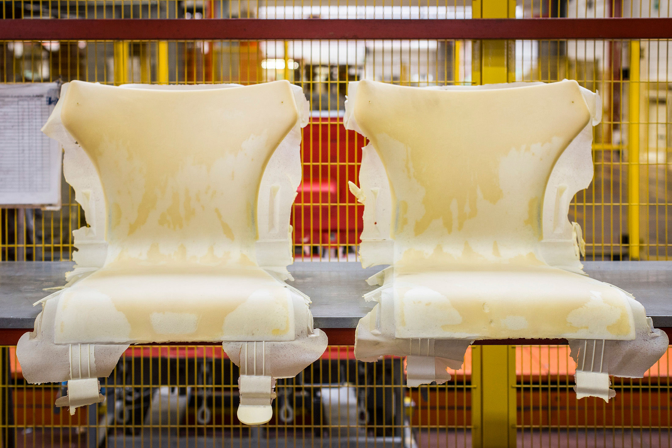 Two shaped chairs as they come off the mold. (Photo: Valerio Vincenzo/Surface)