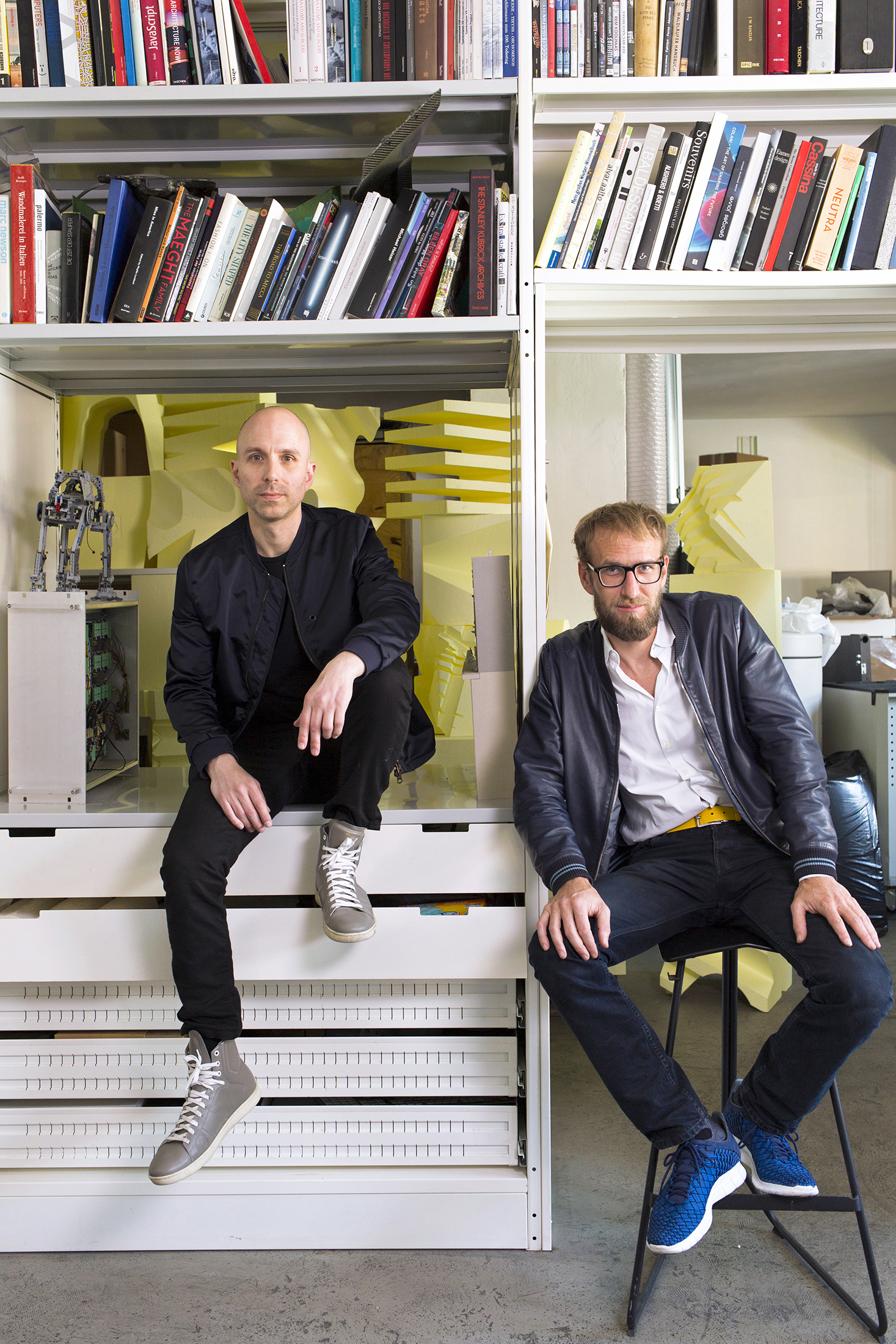 Reed Kram, left, and Clemens Weisshaar inside their Munich studio. (Photo: Marek Vogel/Surface)