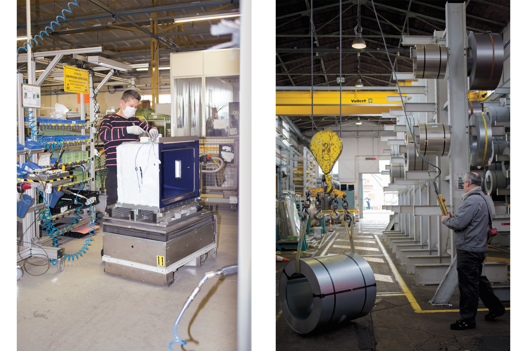 (Left) Wiring an oven. (Right) Each oven starts as rolls of steel that weight up to three tons each.(Photo: Monika Hoefler/Surface)