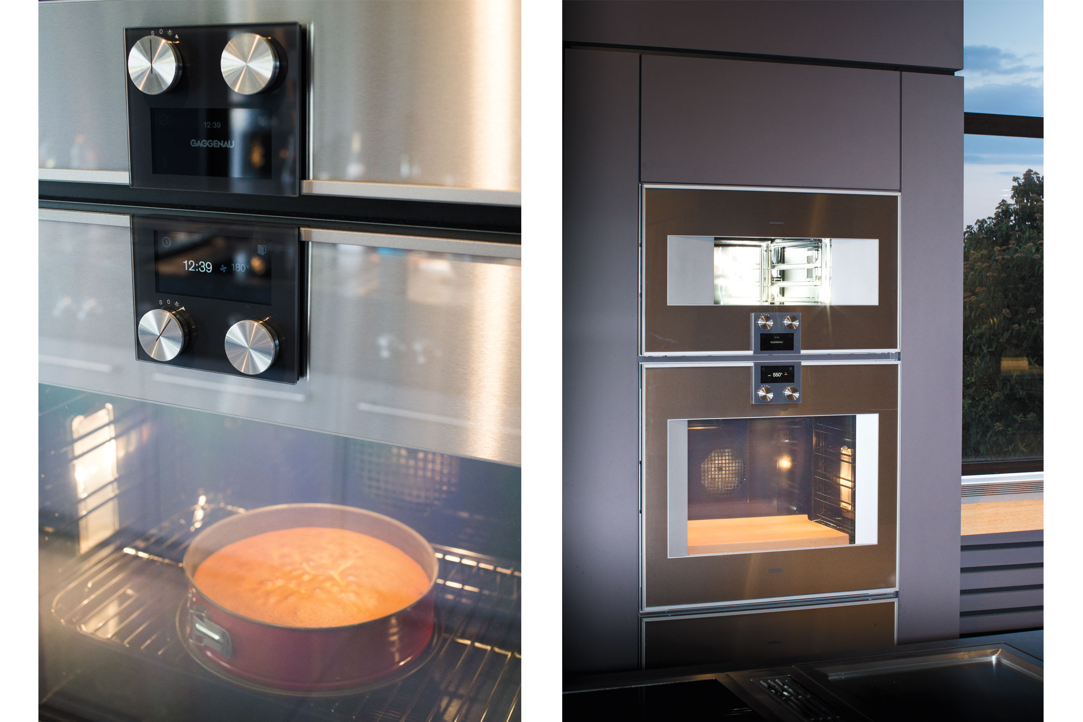 Two views of the 400 Series Combi-steam oven and 400 Series single oven at work.(Photo: Monika Hoefler/Surface)
