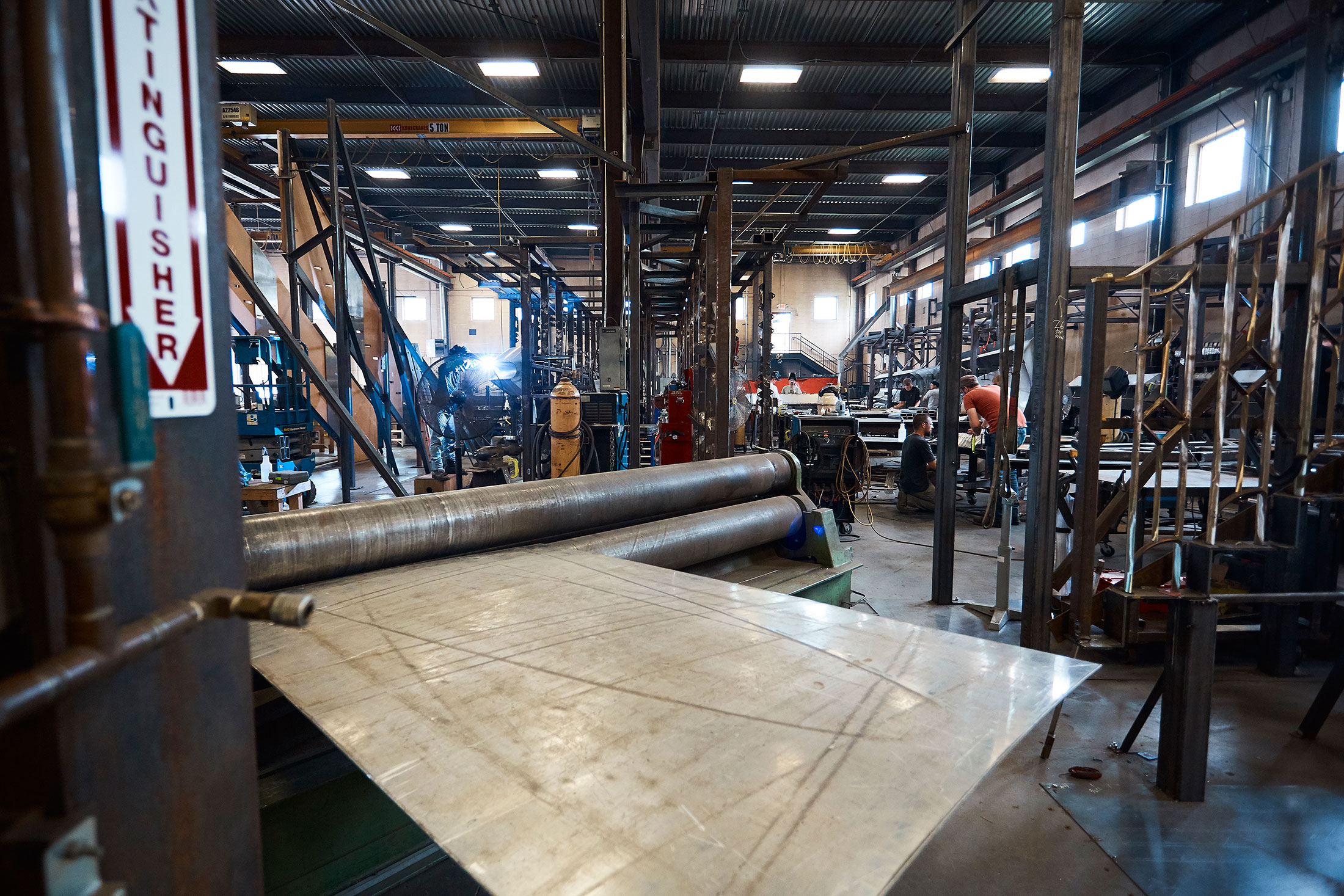 A look inside the factory where metal is bent and welded to form panels.
