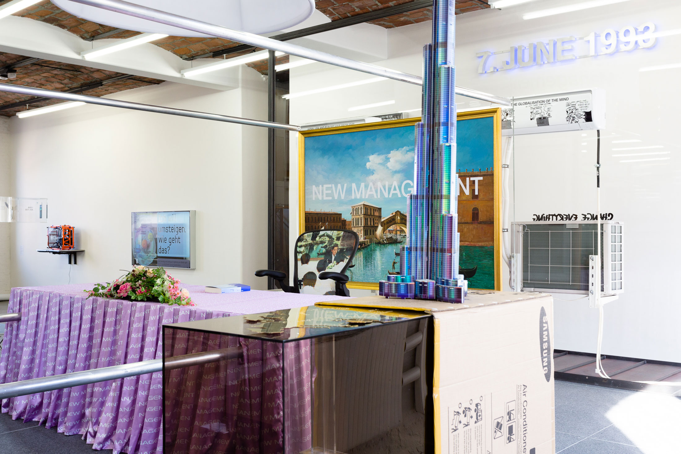 """Installation view of """"Simon Denny: The Innovator's Dilemma"""" at MoMA PS1 in 2015. (Photo: Pablo Enriquez/Courtesy the artist and MoMA PS1)"""
