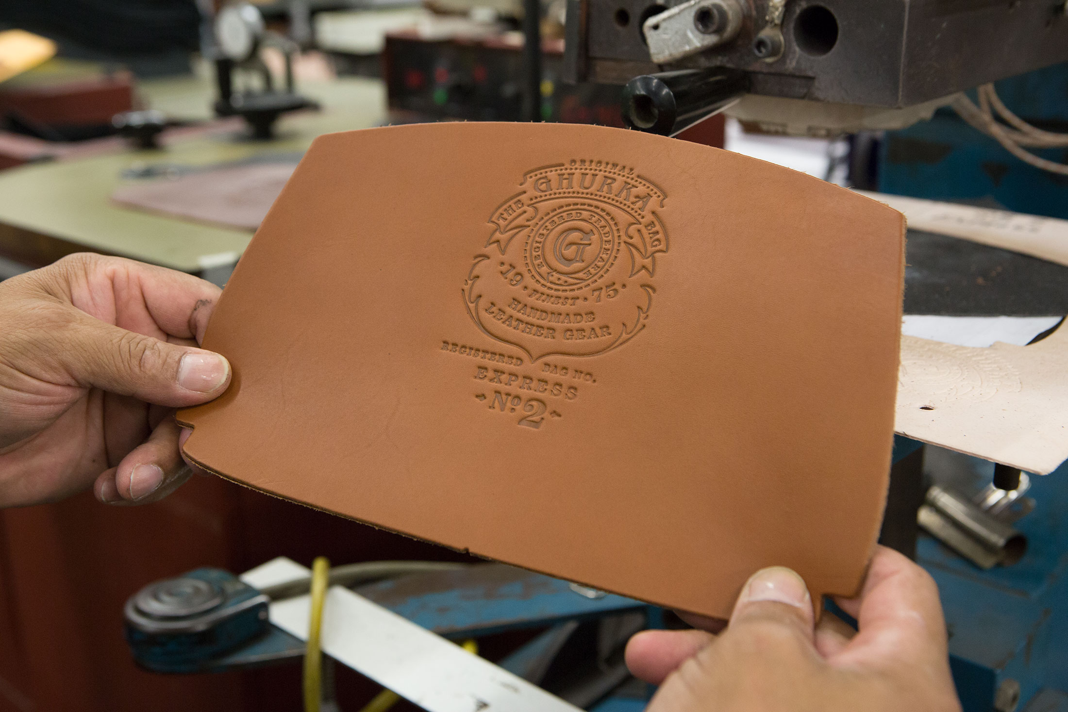 After stamping a piece of leather.