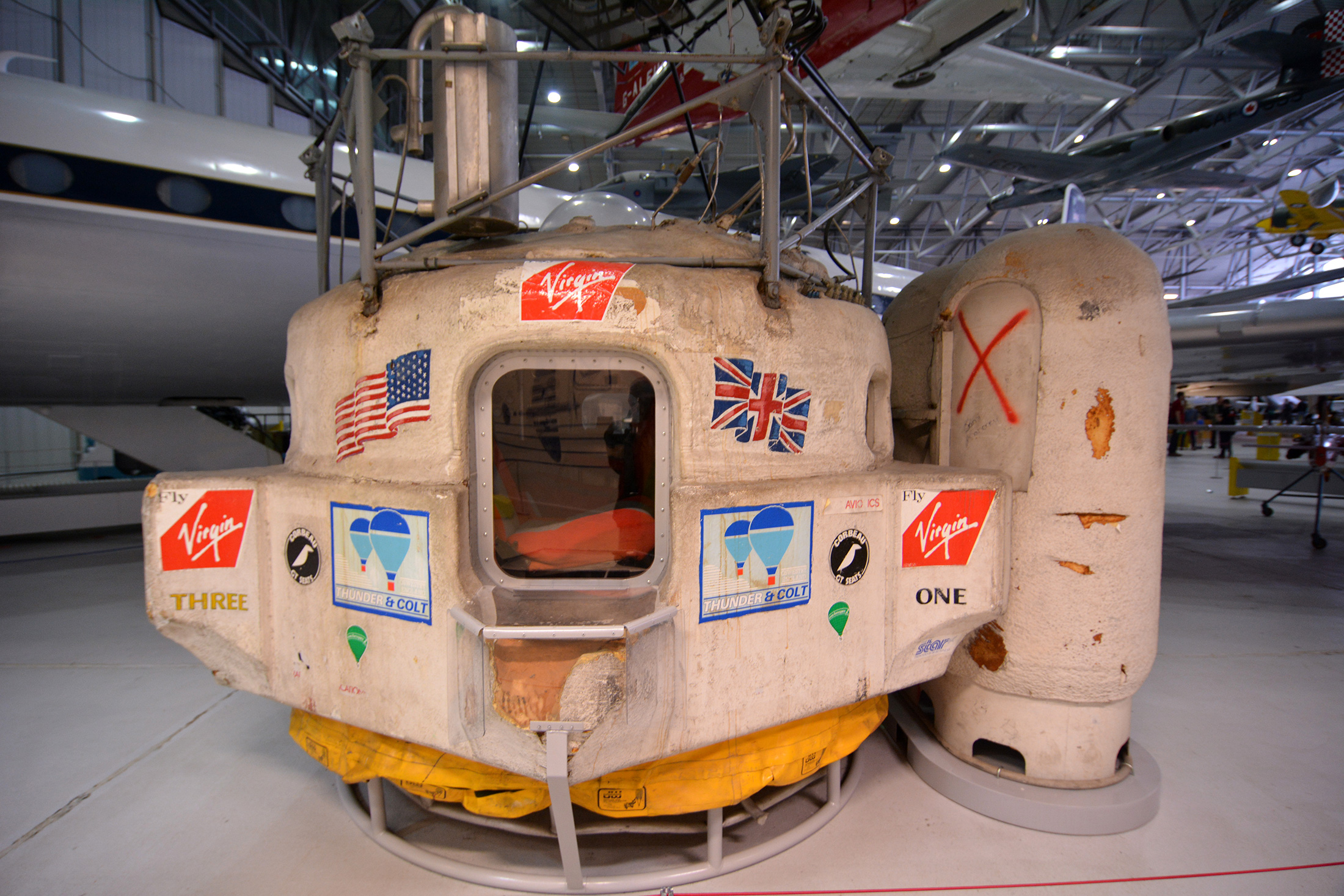 The capsule from the Virgin Atlantic Flyer, which Branson and a partner flew across the Atlantic Ocean in 1987. (Photo: Courtesy MoorwaySouth/Wikimedia)