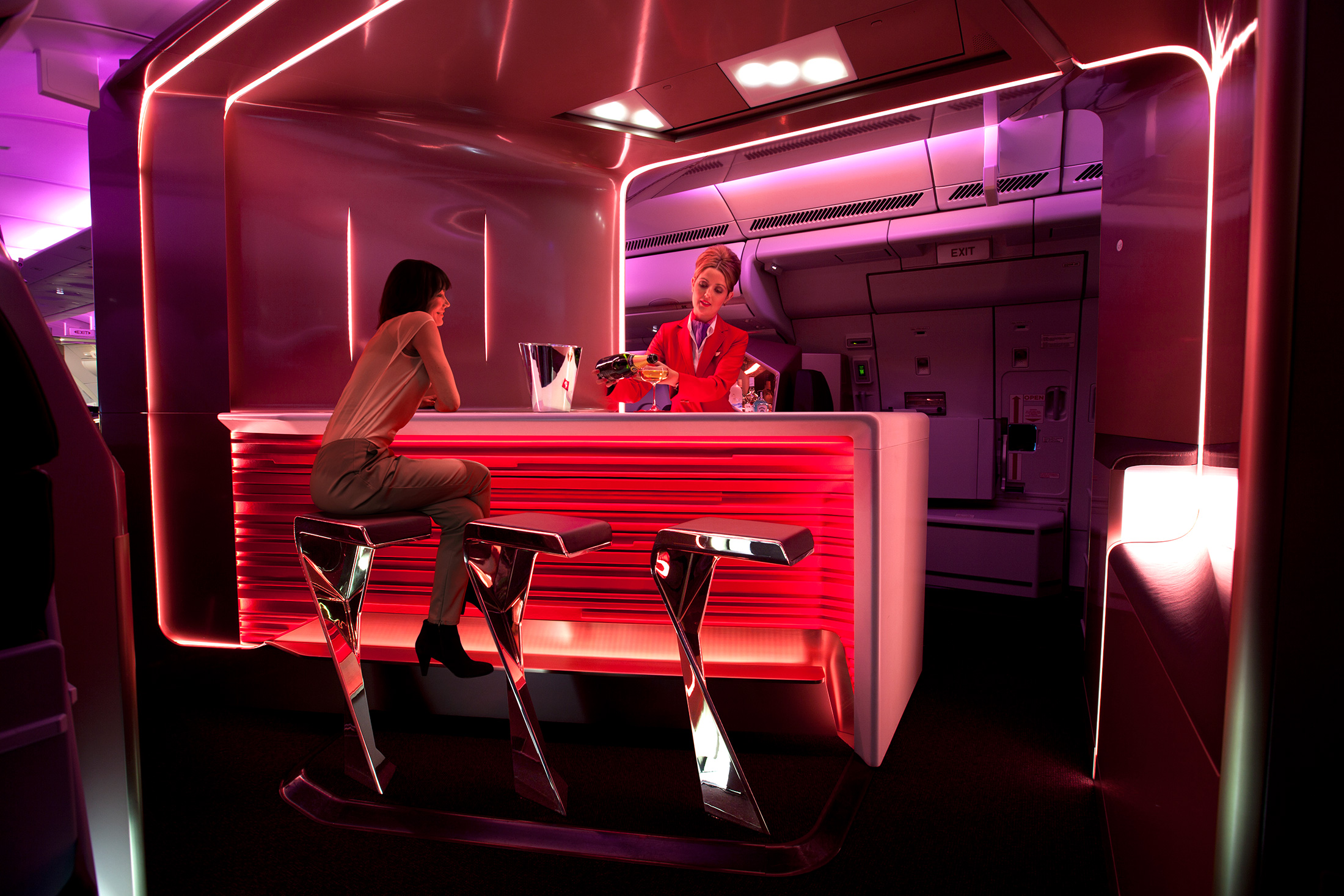 The Upper Class bar on a Virgin Atlantic airplane. (Photo: Courtesy Virgin Atlantic)
