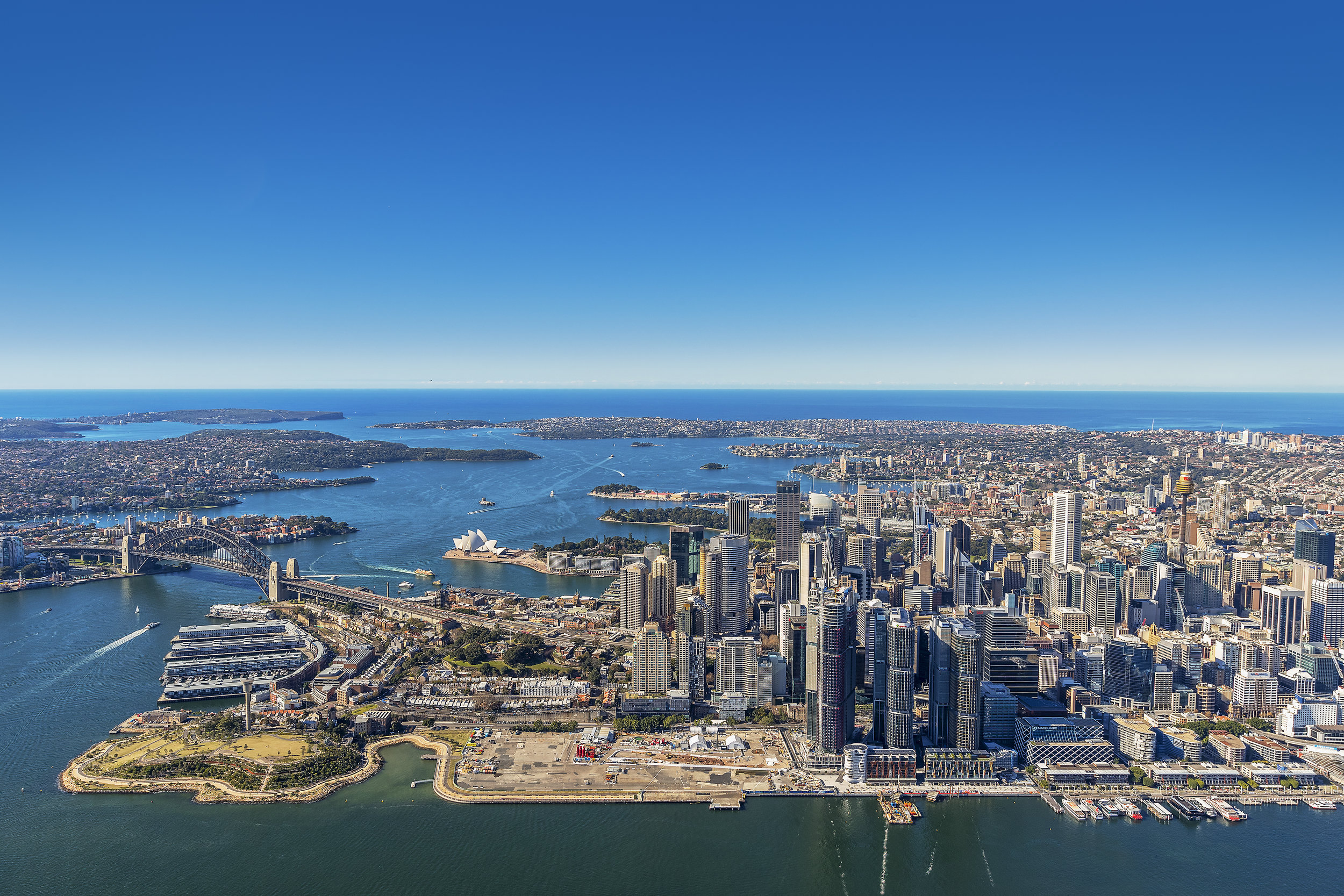 An aerial view of Barangaroo. (Photo: Courtesy Barangaroo Delivery Authority)