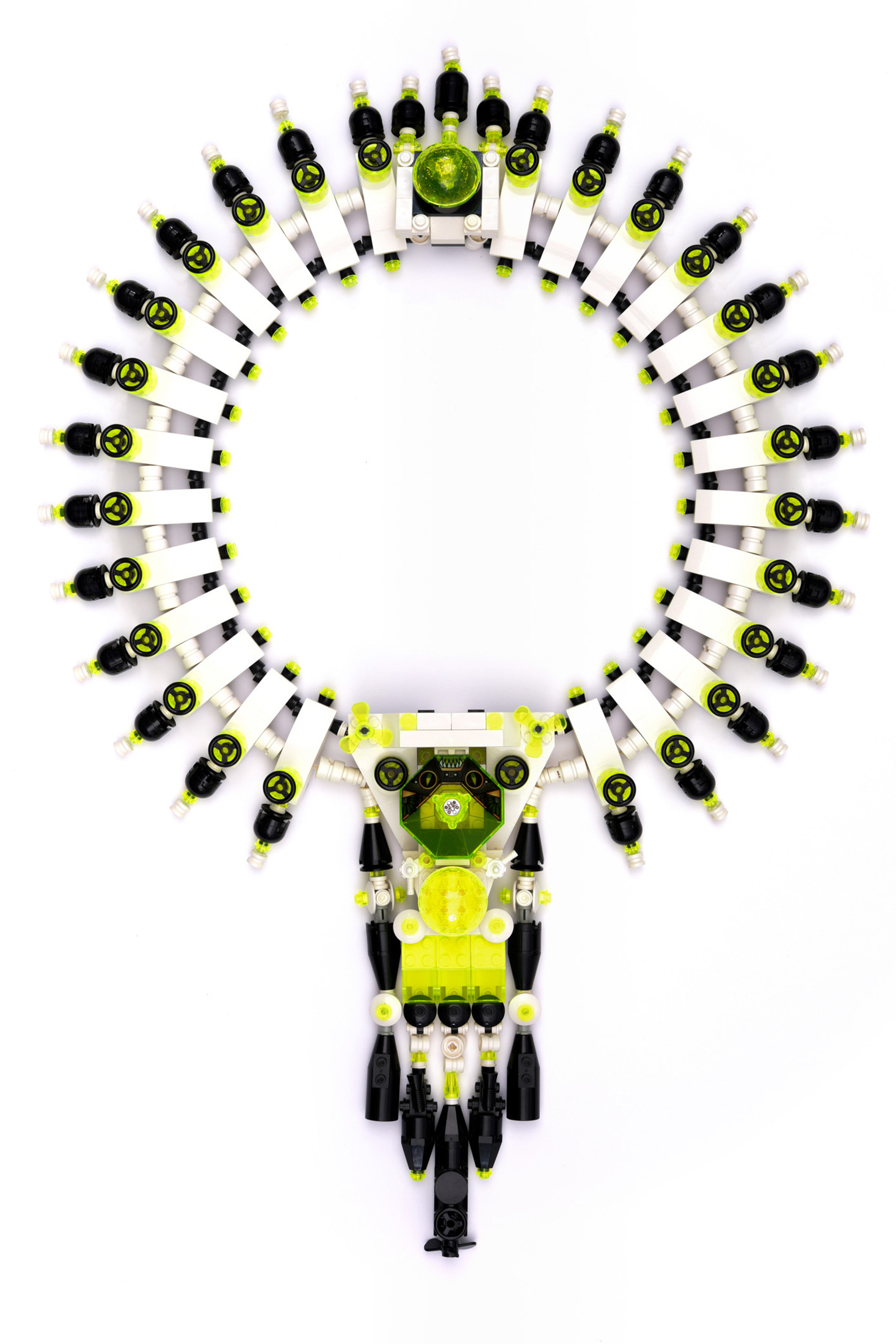 """A necklace in """"Beyond Bling""""at LACMA that is made of Legos, rubber cord, and silver. (Photo: Courtesy Museum Associates/LACMA)"""