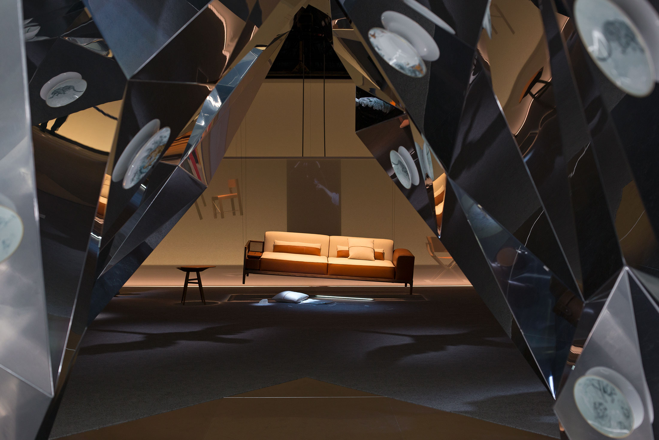"""The Sellier sofa, designed by Noé Duchaufour-Lawrance, at the entrance of """"Here Elsewhere"""" by Robert Wilson."""