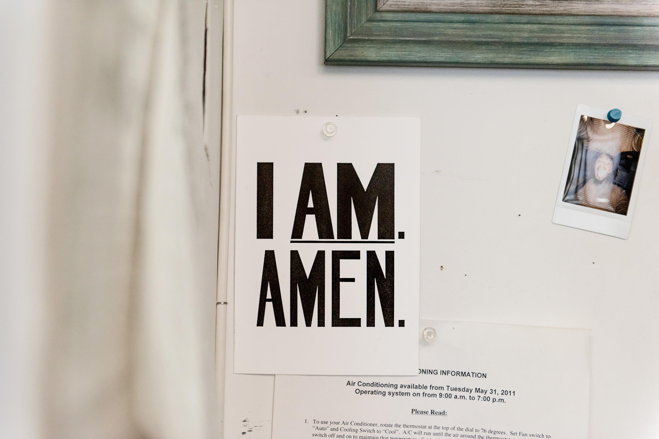 """An """"I Am Amen""""postcard inspired by a sign used by black sanitation workers during a 1968 strike. Thomas created a series of paintings,   titled """"I Am A Man,""""based on these posters in 2009."""