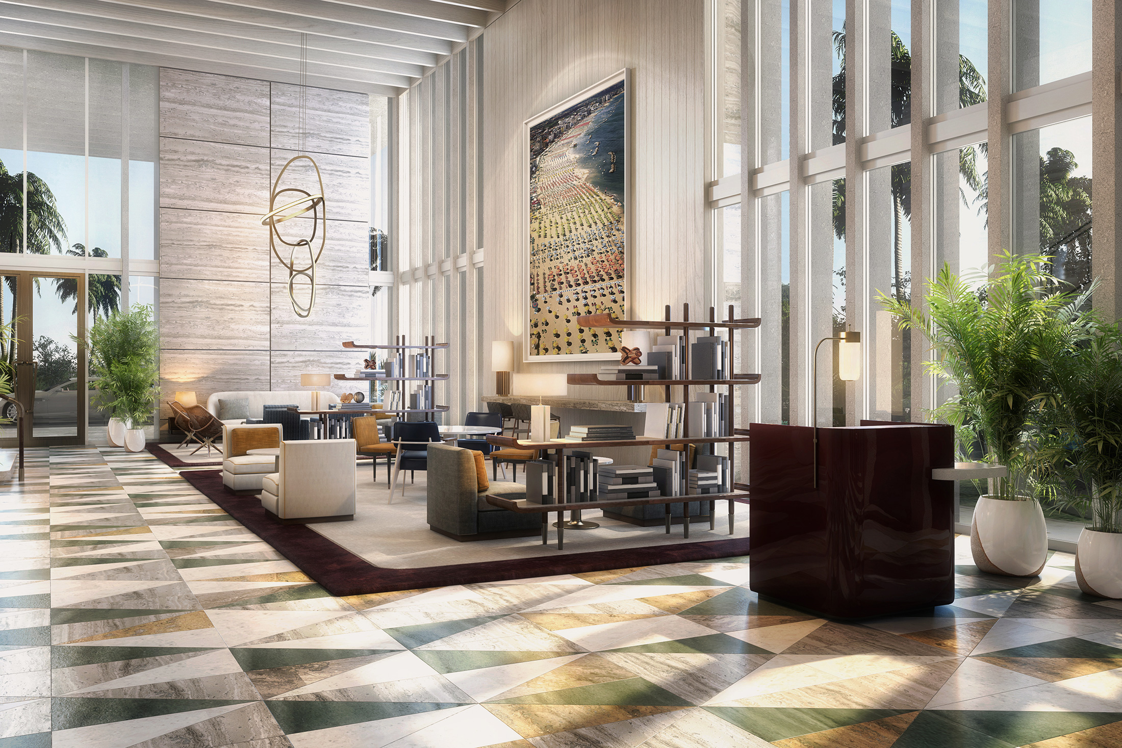 A rendering of the lobby at Four Seasons Fort Lauderdale. (Image: Courtesy Four Seasons)