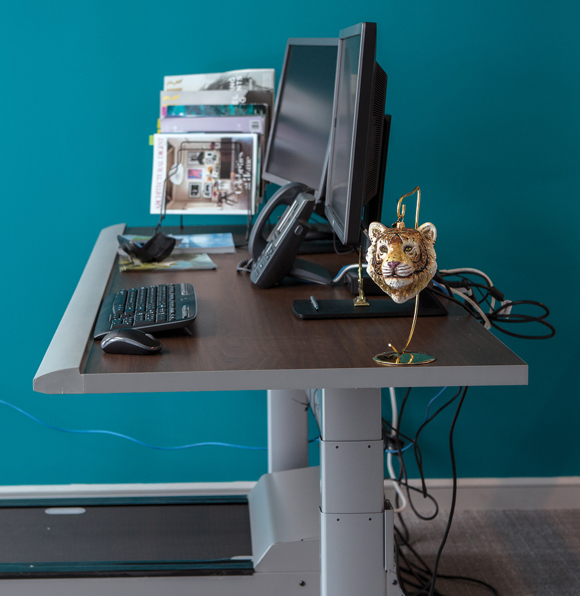 Edie Rodriguez's treadmill-standing desk at the Crystal Cruises offices in Miami.