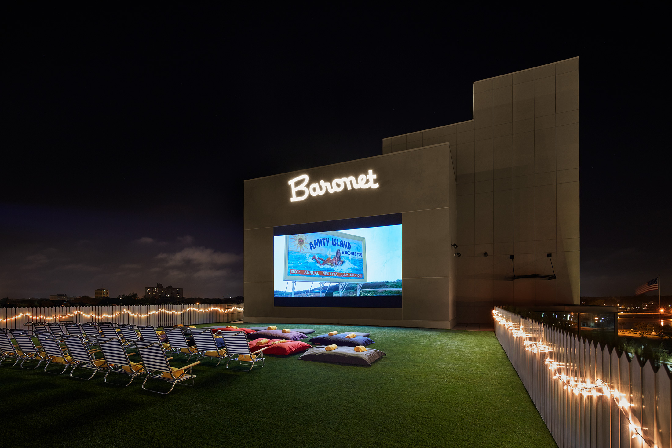 The Baronet outdoor cinema, on the roof of the hotel.