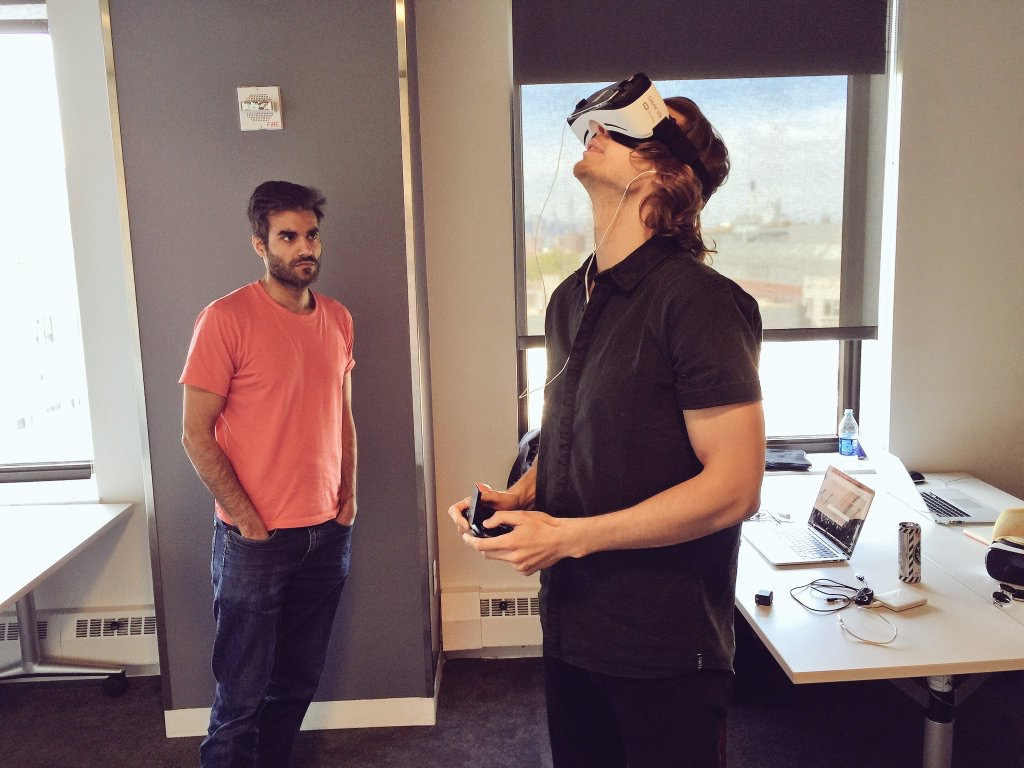 Above:  My teammates Rehmat Qadir and Christopher Hill testing out a demo build of the maze. While we could often preview the maze in Unity, there was no replacement for putting on the headset to understand the full user experience.