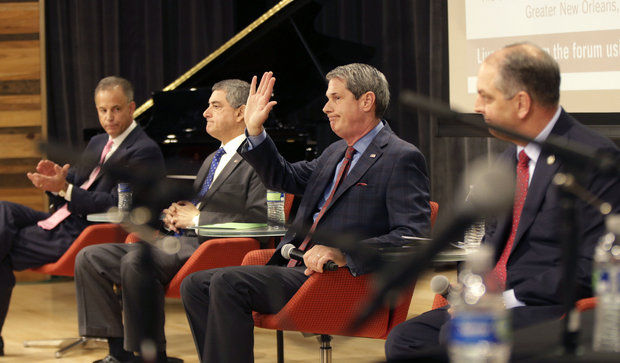 Louisiana gubernatorial candidates speak at the Southeast Super Region Committee Gubernatorial Forum in New Orleans, Friday, Sept. 4, 2015. From left to right, are: Louisiana Public Service Commissioner Scott Angelle, Lieutenant Gov. Jay Dardenne, Sen. David Vitter, R-La., and state Rep. John Bel Edwards, D-72nd Dist. (AP Photo/Gerald Herbert)  (AP Photo/Gerald Herbert)