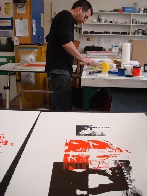 Printing residency with Thomas Sprenkle at OCAC print studio, Portland, Oregon.