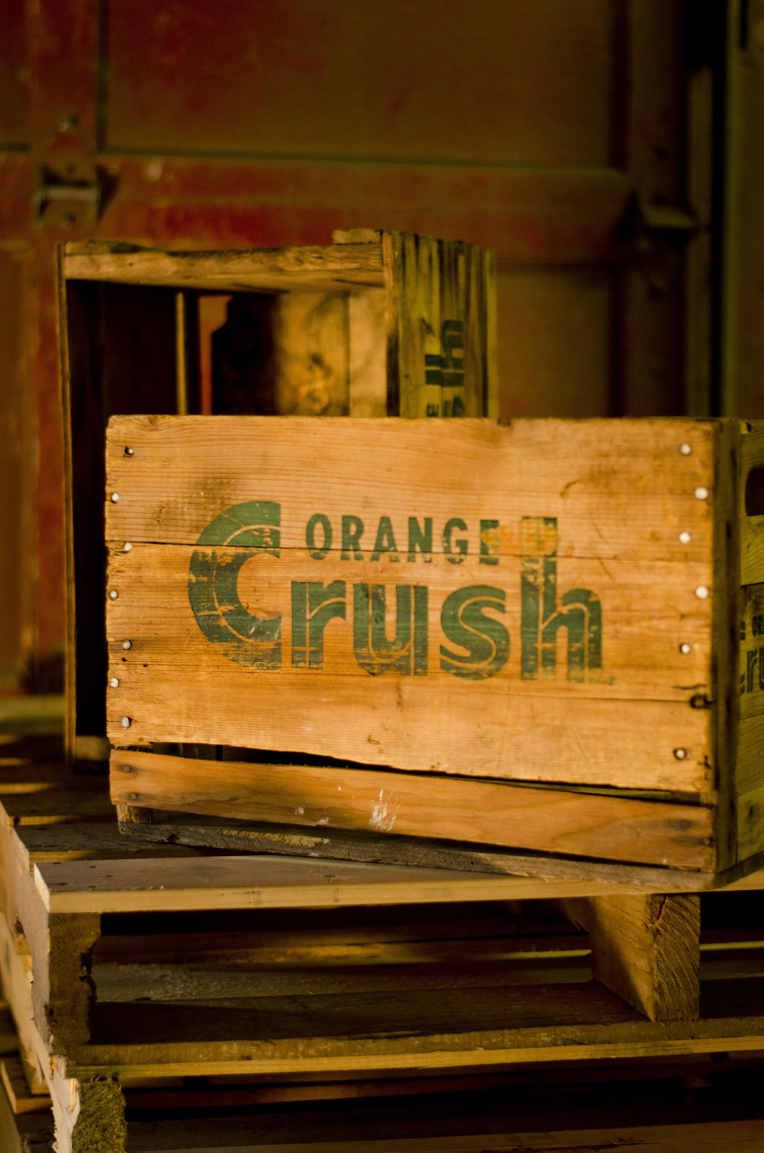 vintage orange crush crate