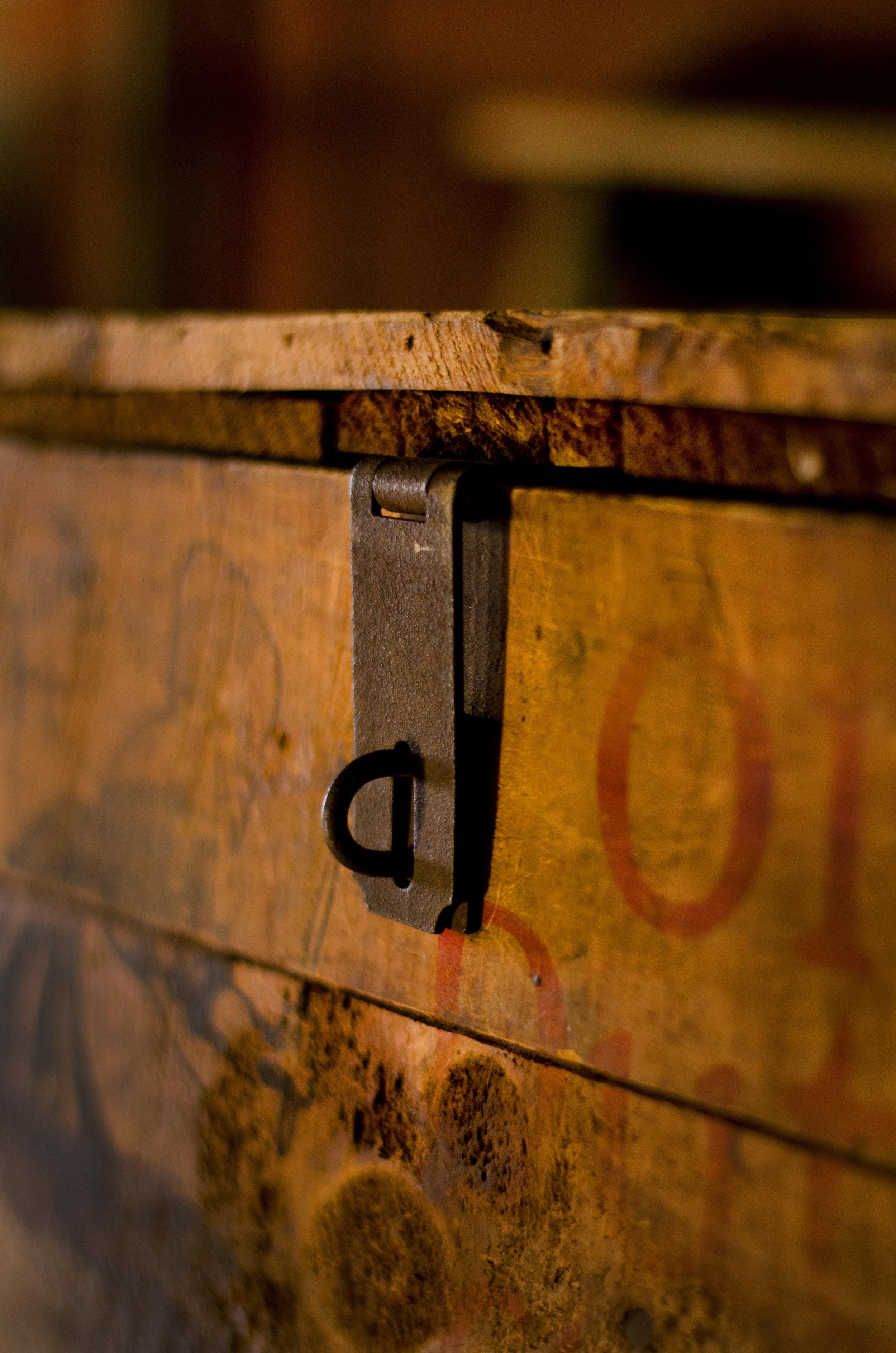 vintage wooden chest lock