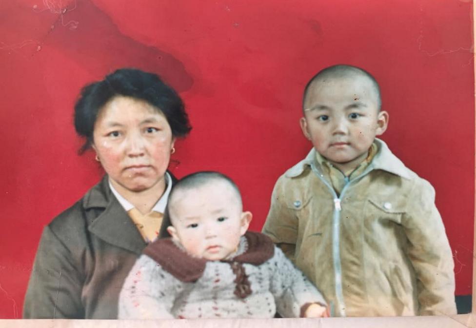 Figure 2. My grandmother, Tashi Yangki, with my two uncles, Tenzin Dechen and Tenzin Tselhen in Tibet. c. 1976.