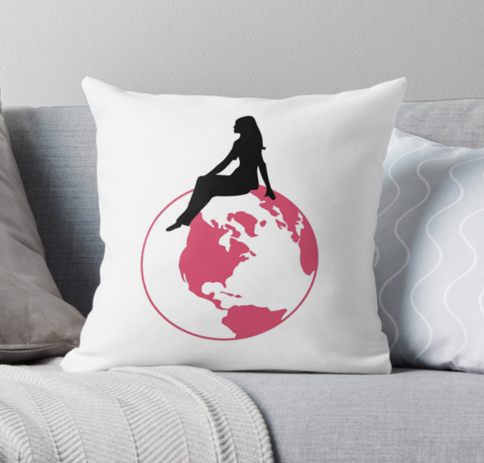 World Girl Throw Pillow