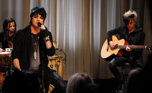 Another   Unplugged   guest this month was the headline-grabbing   Adam Lambert   .  The second-place winner of   American Idol   is currently on tour promoting his  RCA  album  For Your Entertainment  .