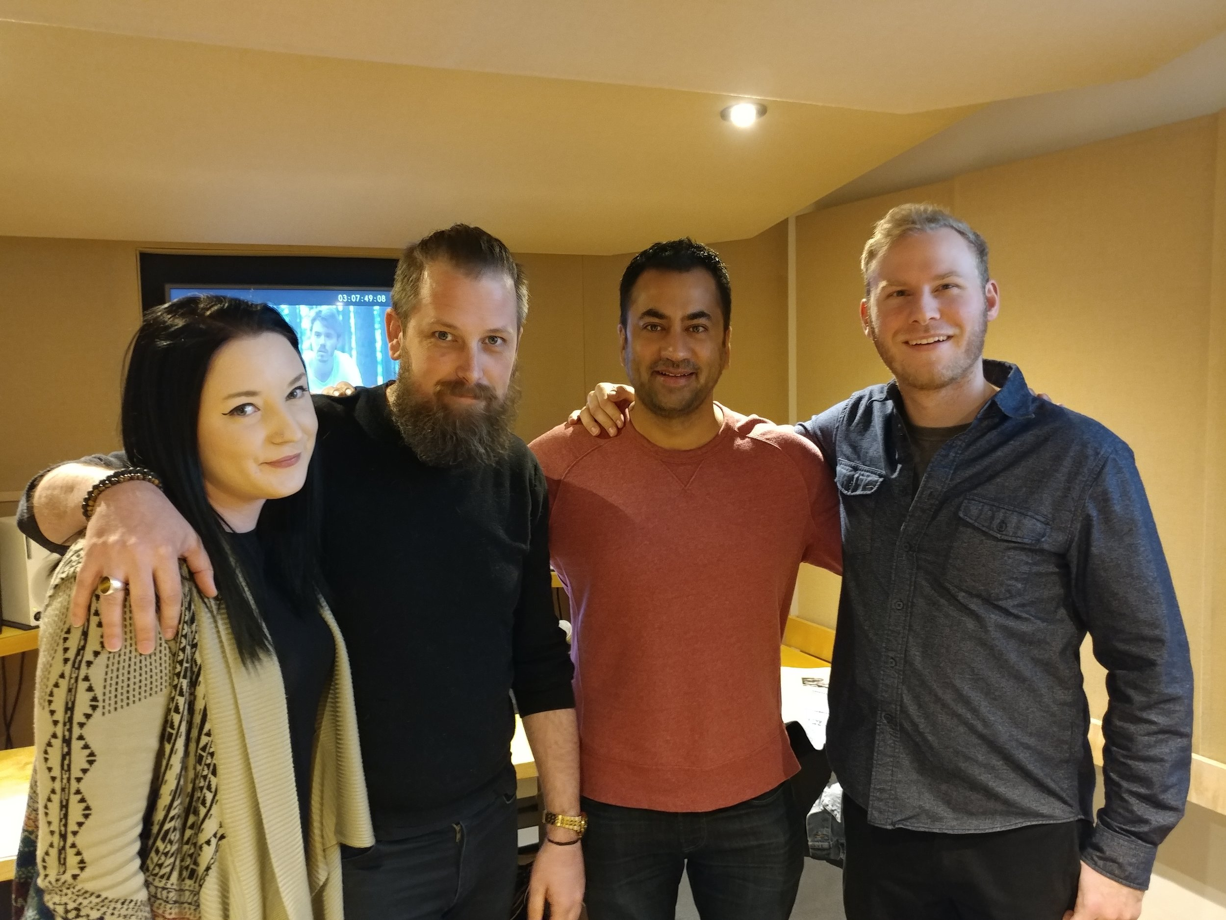 Kal Penn with engineers Adrian Thorstensen and Russell Castiglione, and studio manager Nicole Muzii