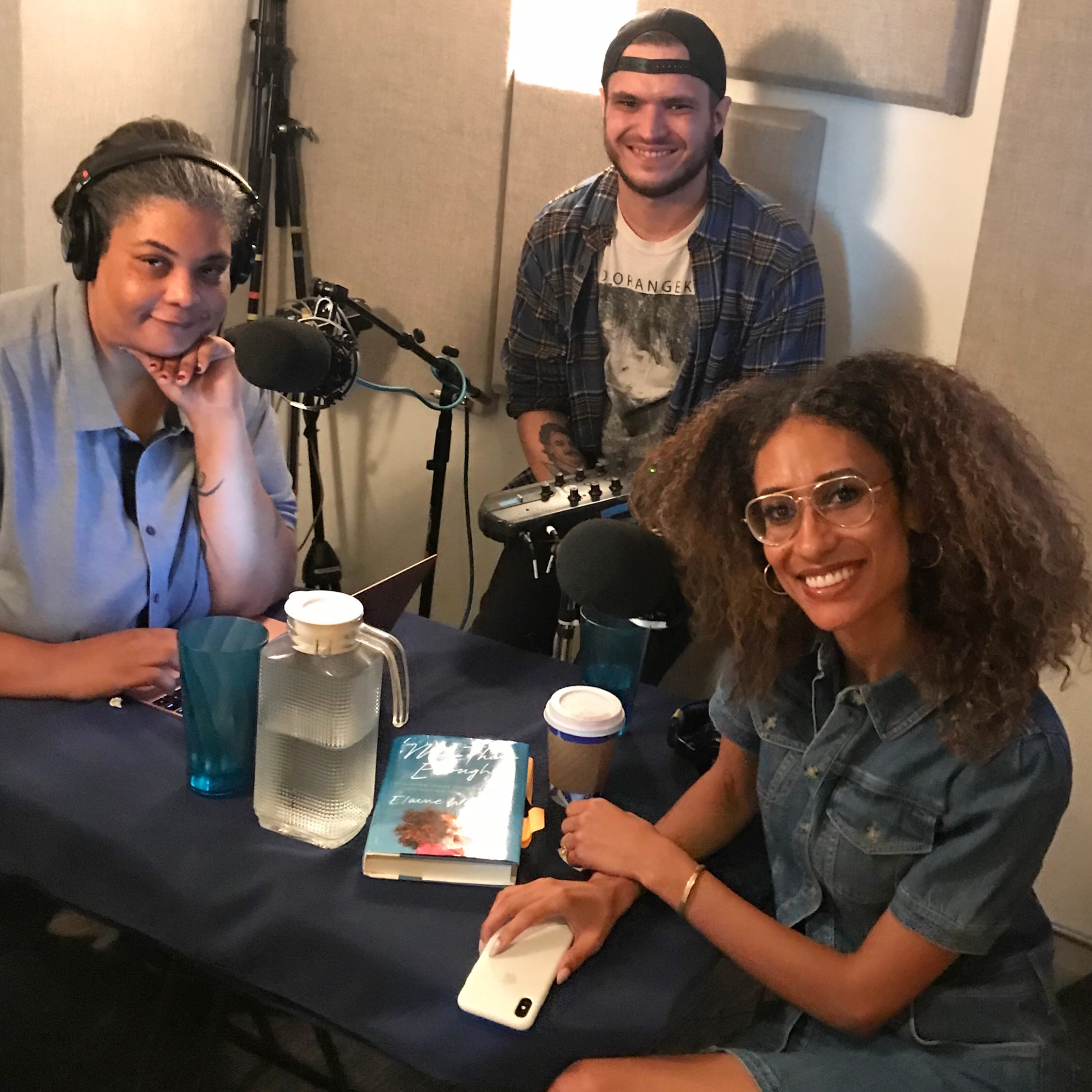 Roxane Gay, Zac Suskevich, and Elaine Welteroth, set to record.