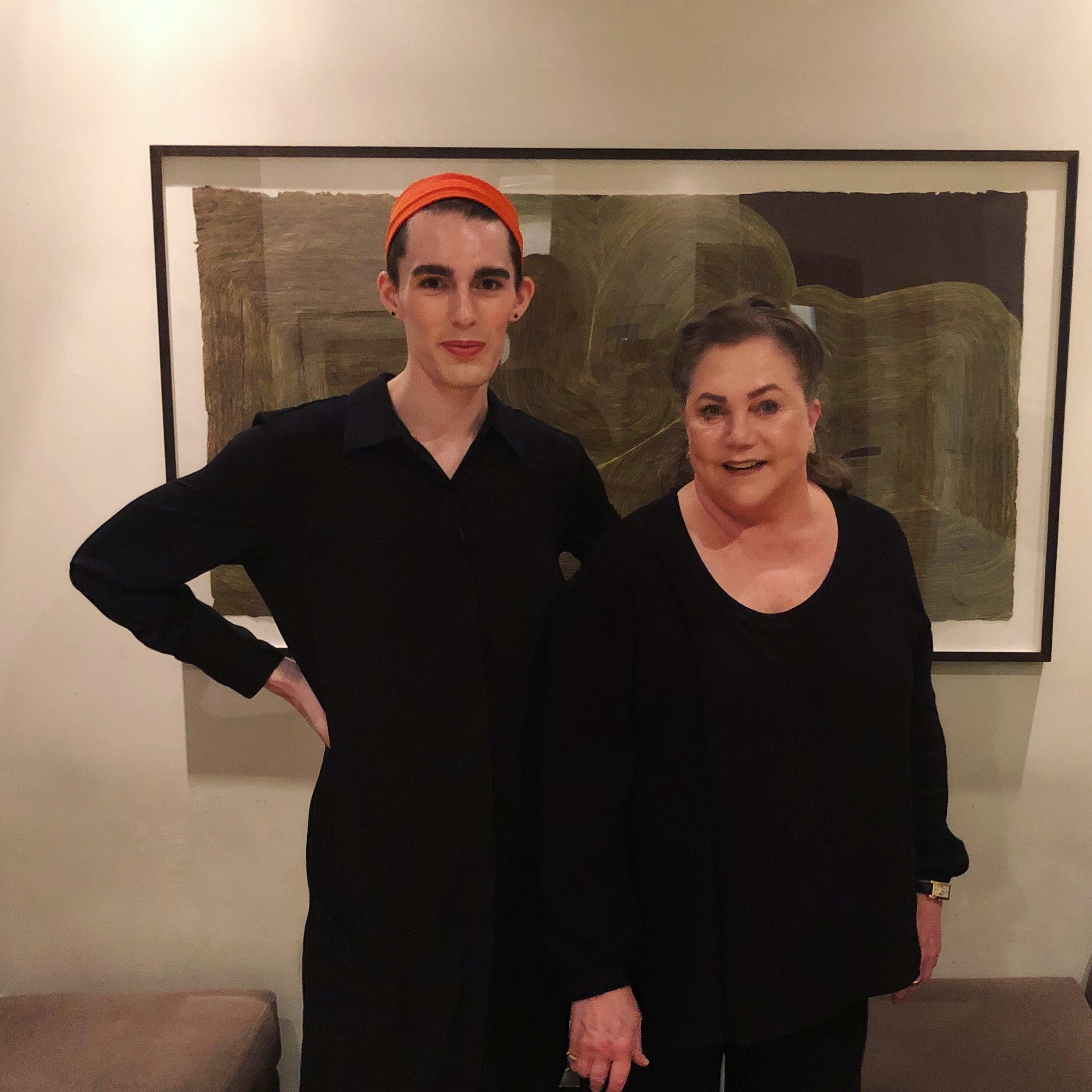 Violette and Kathleen Turner after the interview, in matching New York outfits at our downtown studio lobby.