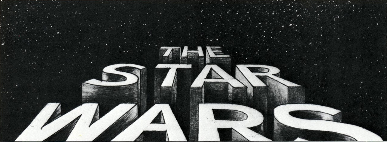 An early storyboard of the opening crawl by artist Alex Tavoularis.