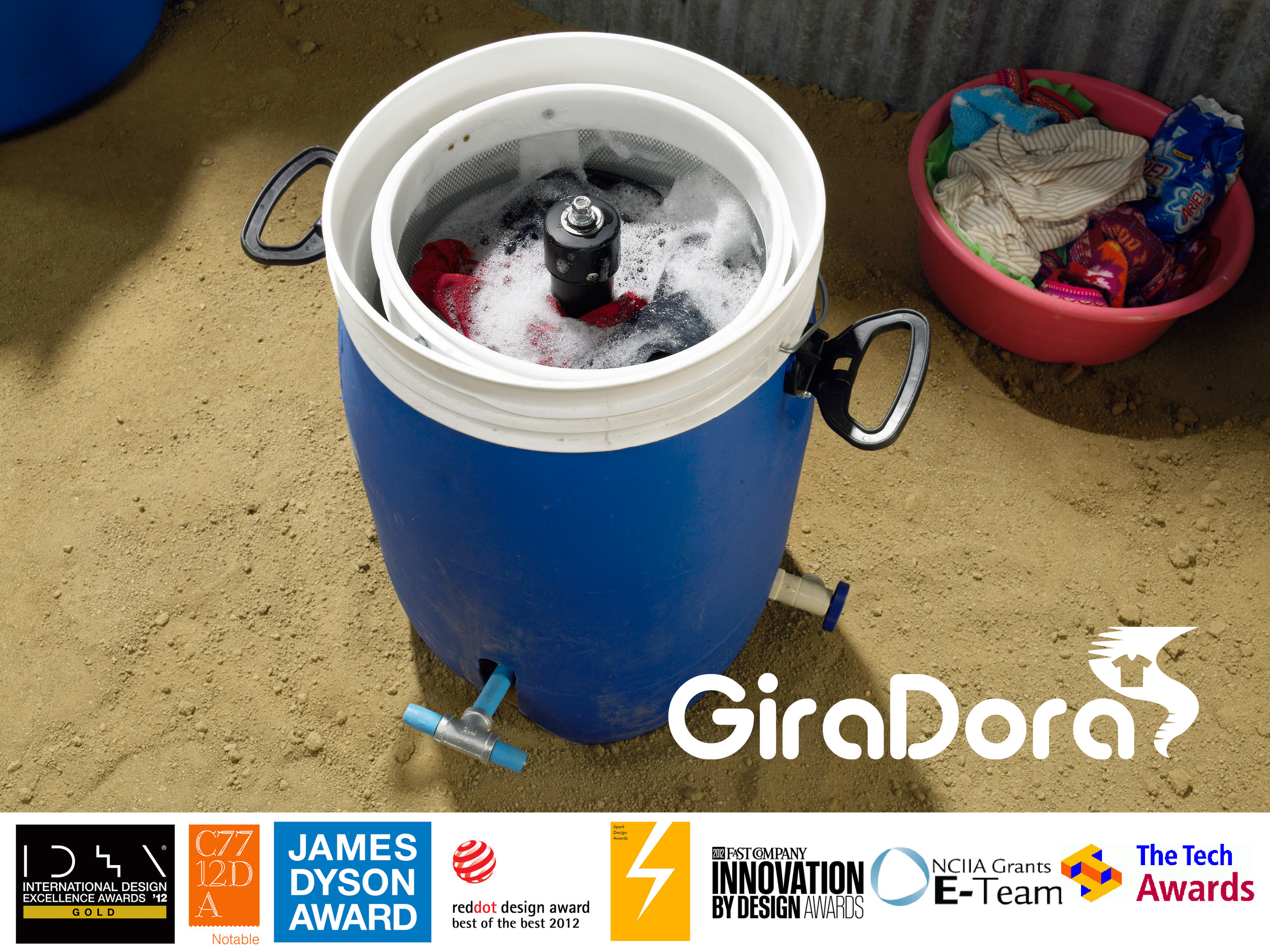 A human-powered washer and spin dryer designed to improve the experience and efficiency of hand-washing clothes.