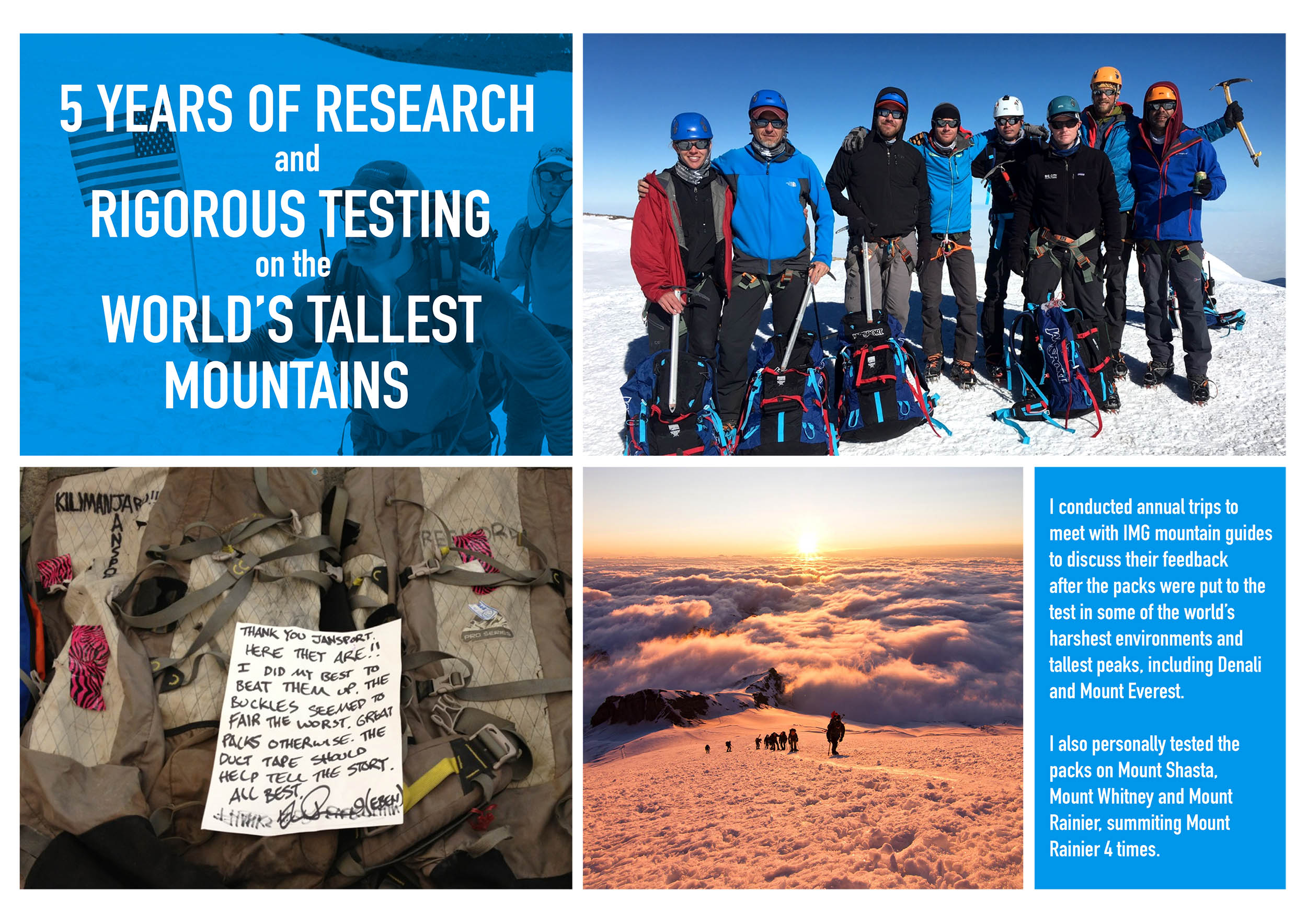 International Mountain Guides Backpack Research and Product Testing