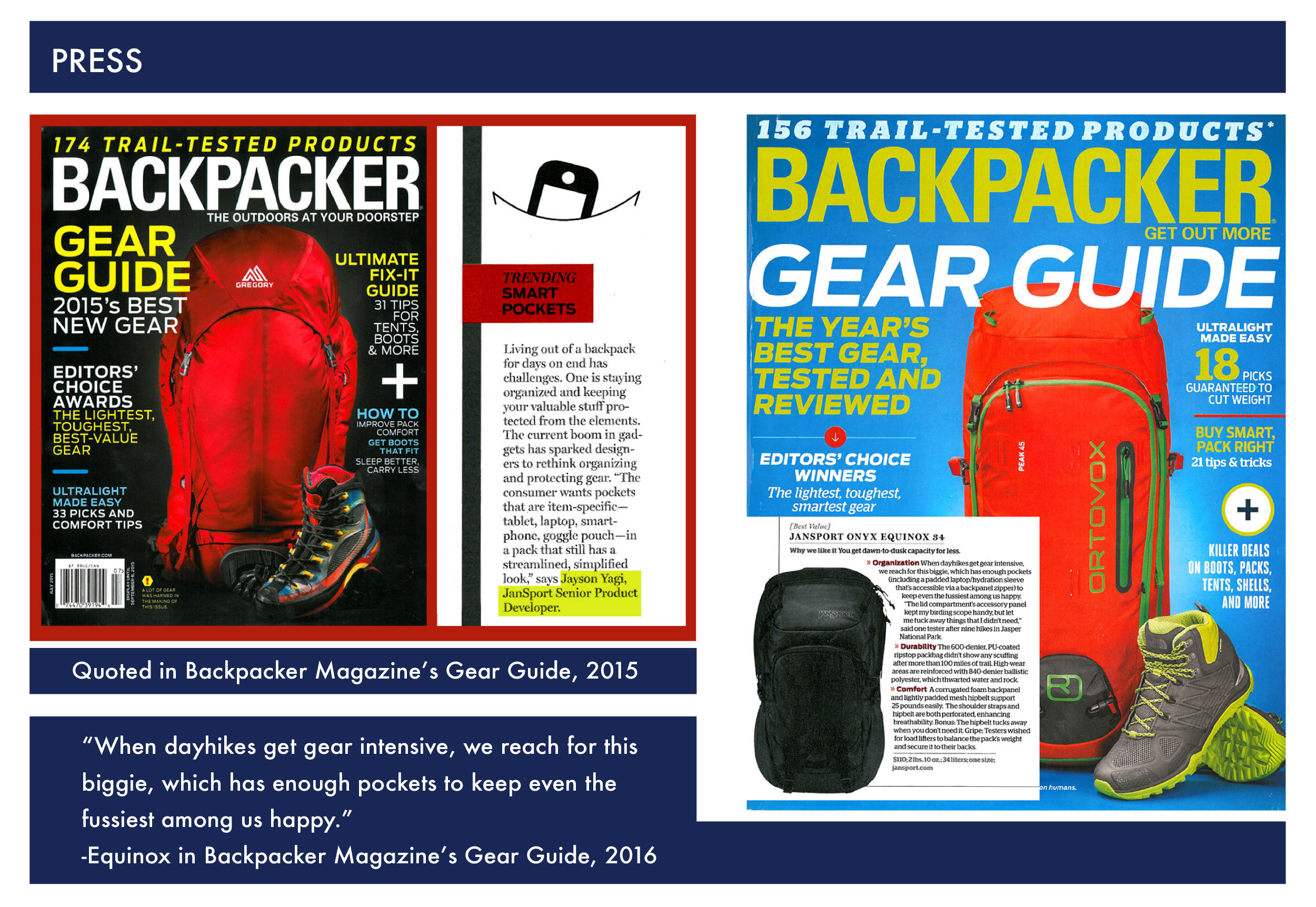 Jansport Senior Product Developer  Backpacker Magazine Gear Guide