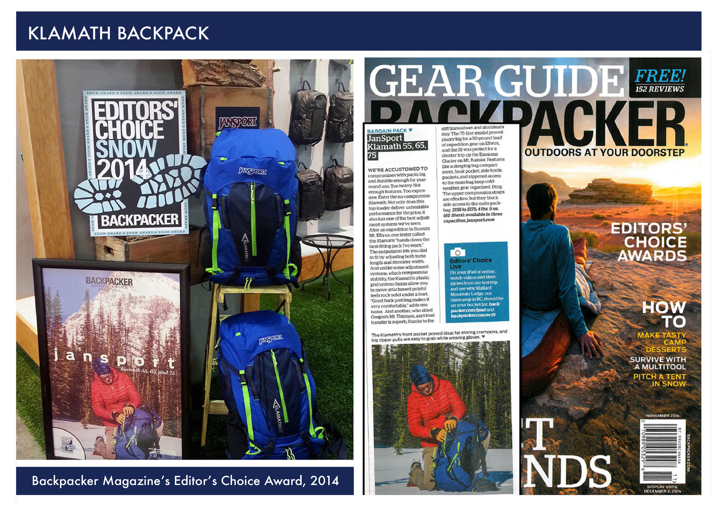 Jansport Senior Product Developer Backpacker Magazine Editors Choice