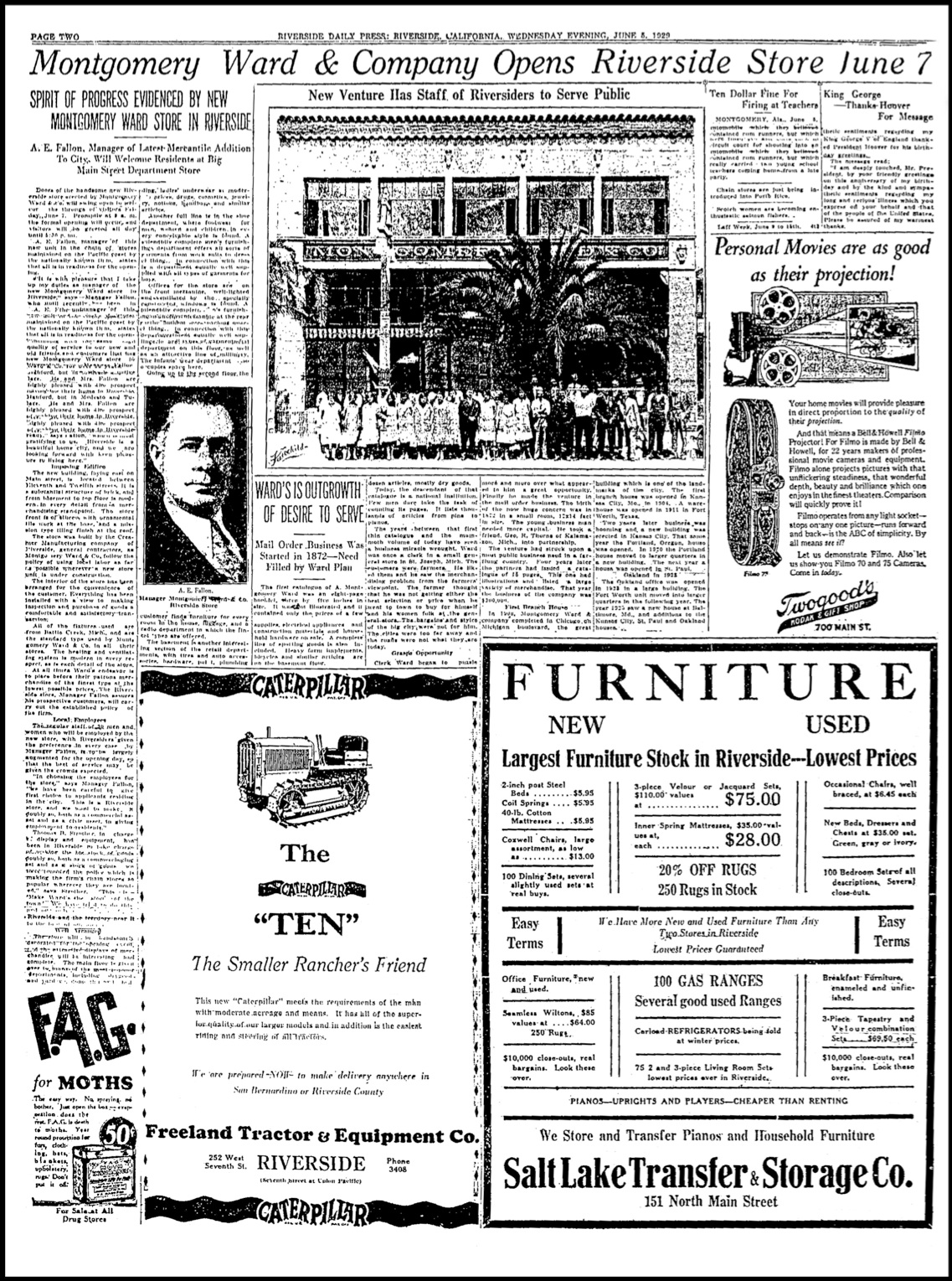 Riverside Daily Press article on Montgomery Ward Co. grand opening 1929.