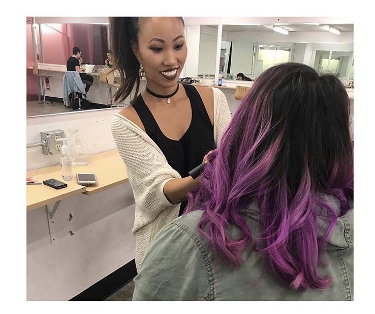 Doing a demo at Tint School of Makeup