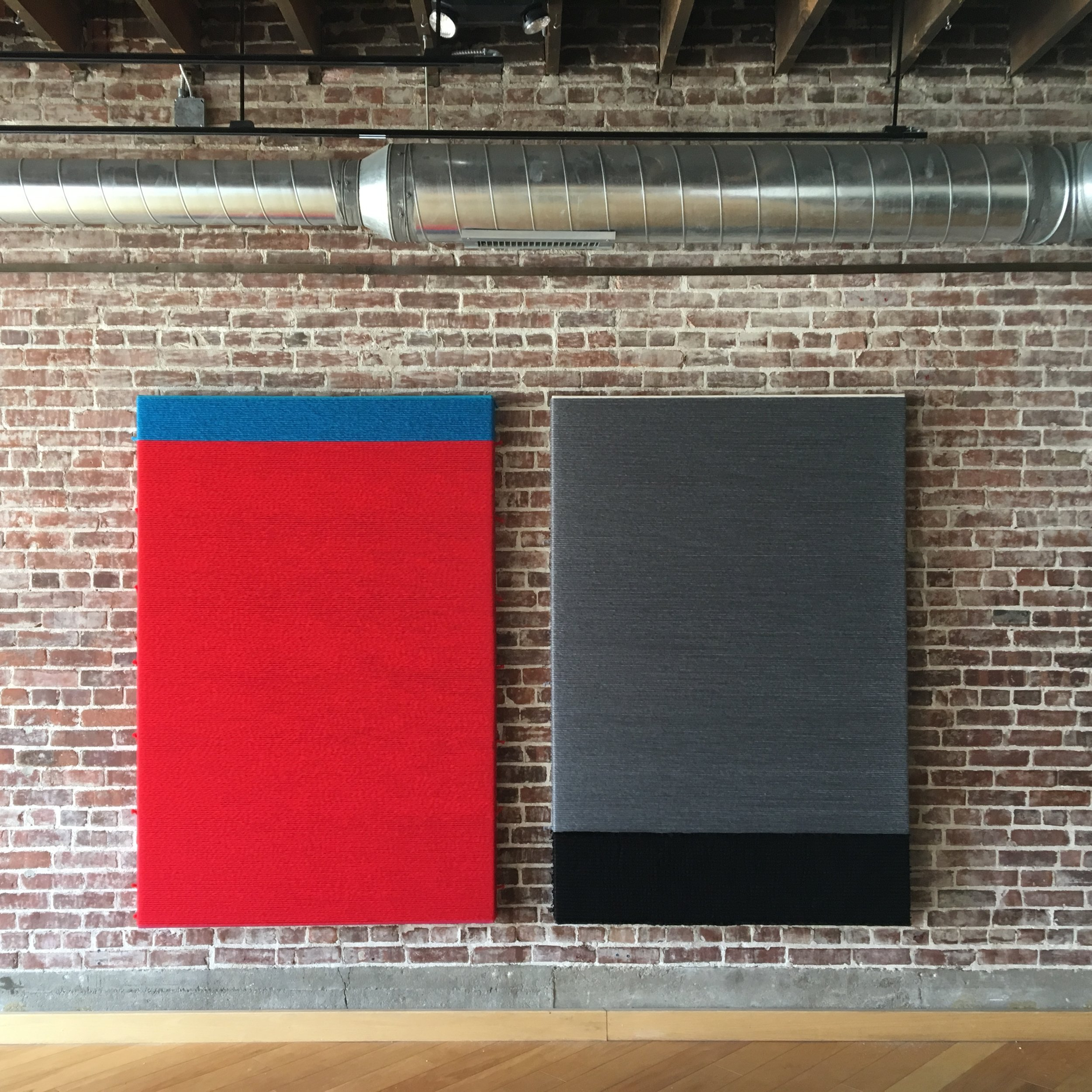 From left to right:  observing multiculturalism - he finally decided to open  up to me and loads of anger just poured out.  2019  wool, wall paint on canvas  72 x 48 in.  observing multiculturalism - the fundamental motive  behind your presence here seems to be accumulating  more power.  2019  wool, nylon, wall paint on canvas  72 x 48 in.