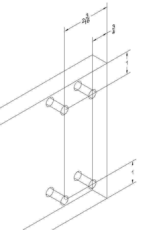 """Main Beam Top Layout  - All holes are 3/8"""". The hole layout of the holes is the same on both sides."""