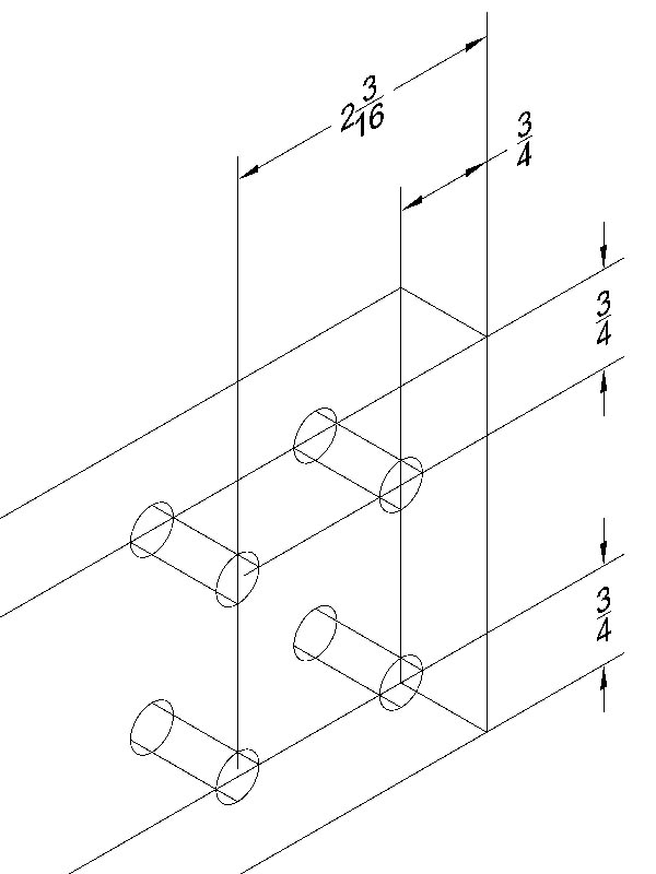 """Main Beam Bottom Layout  - All holes are 3/8"""". The hole layout of the holes is the same on both sides."""