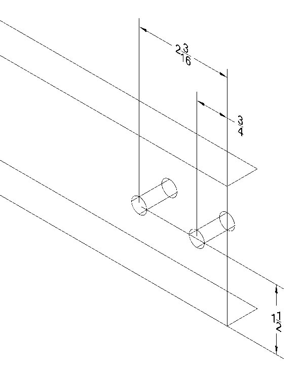 """Stretcher Layout  - All holes are 3/8"""". The hole layout of the holes is the same on both sides."""