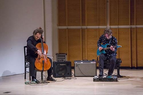 Rubin performs with Steve Mackey at Merkin Hall.