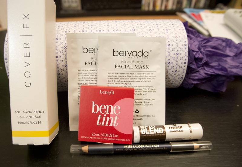 Belvada Blackhead Facial Mask x2, Benefit Benetint, Epic Blend Hemp Vanilla, Estée Lauder Pure Color double-sided kajal pencil, Cover FX Anti-Aging Primer