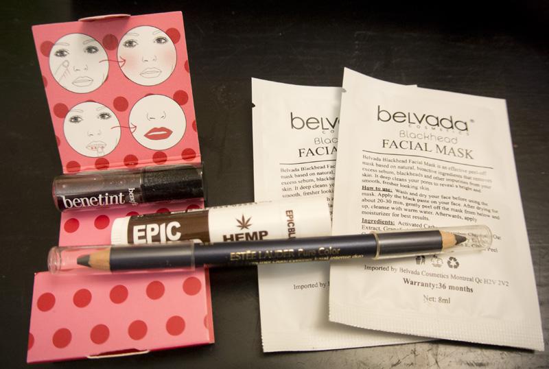 Belvada Blackhead Facial Mask x2, Benefit Benetint, Epic Blend Hemp Vanilla, Estée Lauder Pure Color double-sided kajal pencil