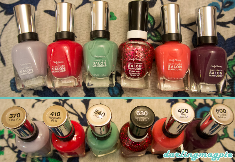 Sally Hansen Complete Salon Manicure - I Lilac You, Tickle Me Pink, Jaded, Strawberry Shields, Get Juiced, Trouble Maker