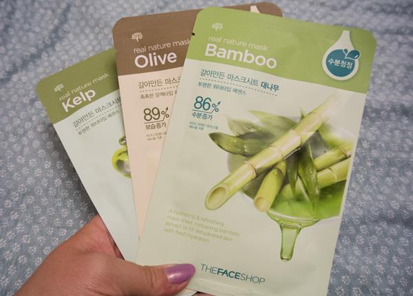 The Face Shop - Kelp, Olive and Bamboo sheet masks