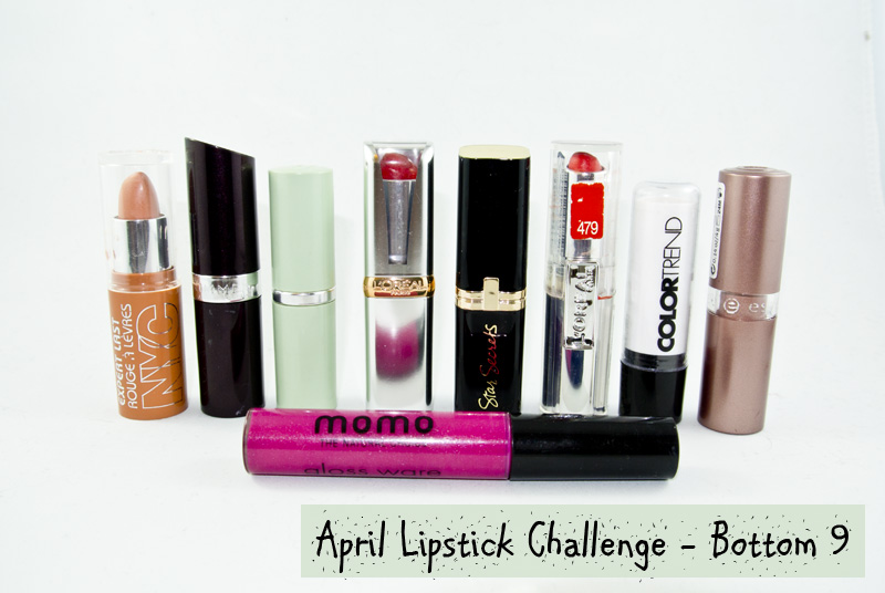 The April Lipstick Challenge - Bottom Nine!