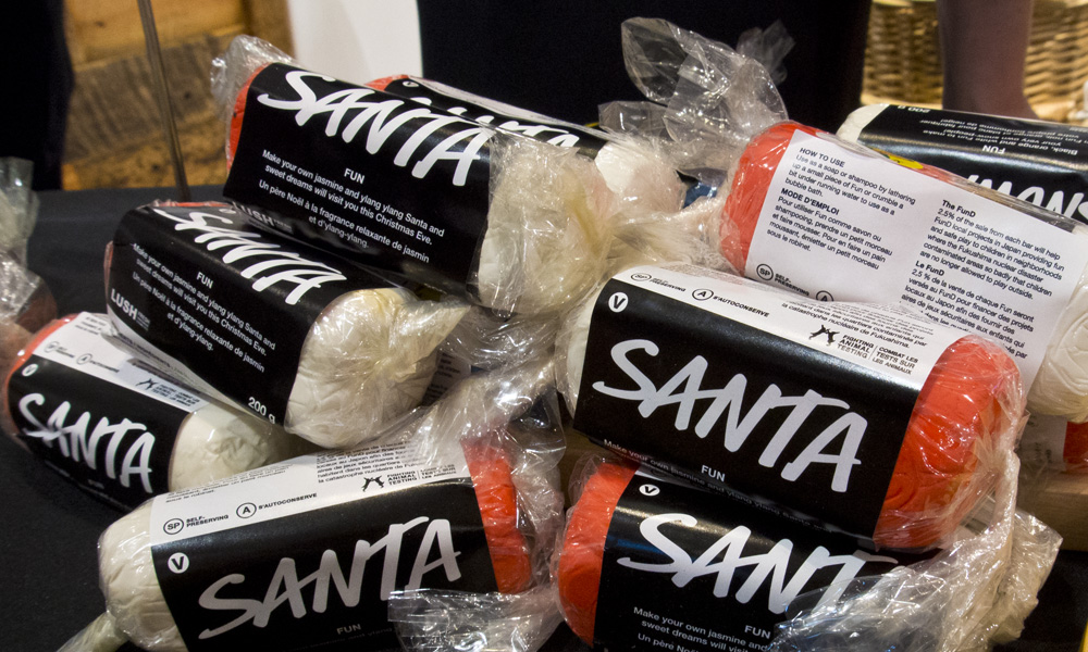 A stack of Santa soap kits