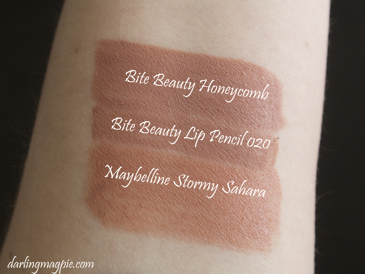 Bite Beauty Homeycomb, The Lip Pencil 020 & Maybelline's Stormy Sahara