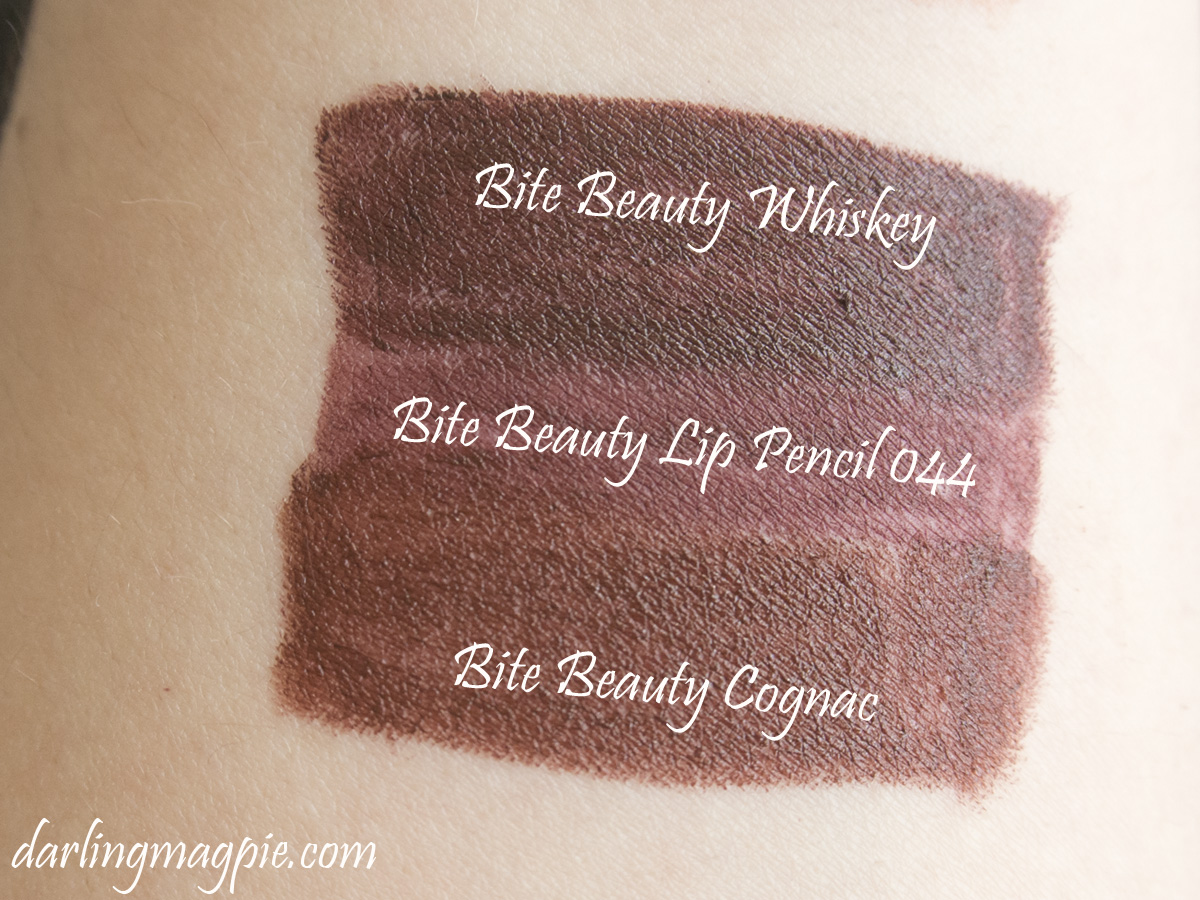 Bite Beauty Whiskey, Lip Pencil 044 and Cognac